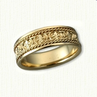 14kt Yellow Gold Custom Fleur De Lis Band with Rope Trim