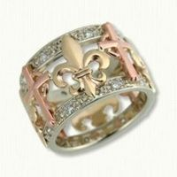 Fleur De Lis Wedding Band with Diamond